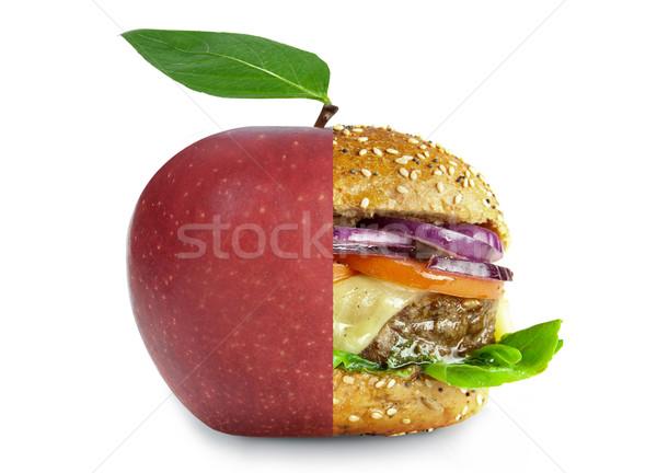 Sağlıklı sağlıksız gıda beslenme elma Burger Stok fotoğraf © unikpix