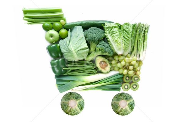 Green grocery shopping cart icon Stock photo © unikpix