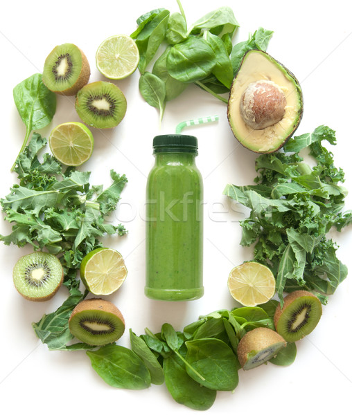 Smoothie verde frutas legumes espinafre comida beber Foto stock © unikpix