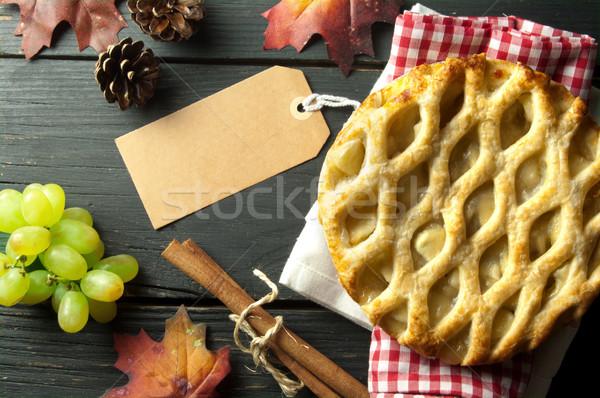 Appeltaart label bevestigd voedsel christmas taart Stockfoto © unikpix