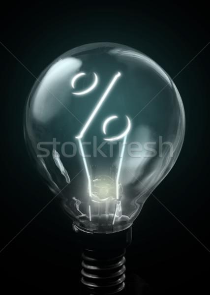 Prozentsatz Zeichen up innerhalb Glühlampe Finanzierung Stock foto © unikpix