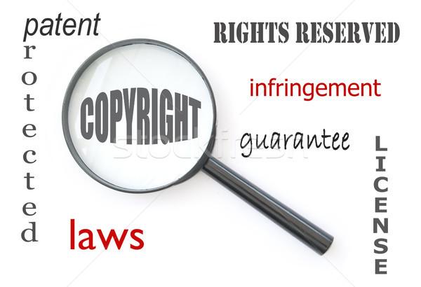 Stock fotó: Szerzői · jog · nagyító · fókuszált · szó · körül · szöveg