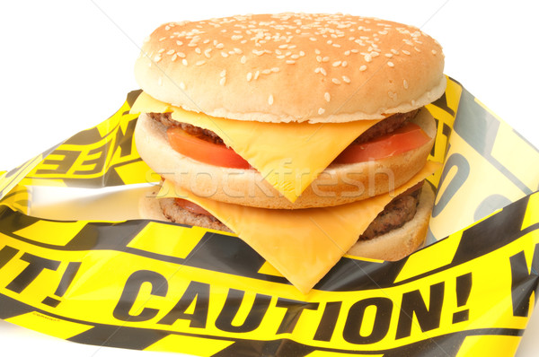 Fast-food aviso cautela fita em torno de dobrar Foto stock © unikpix