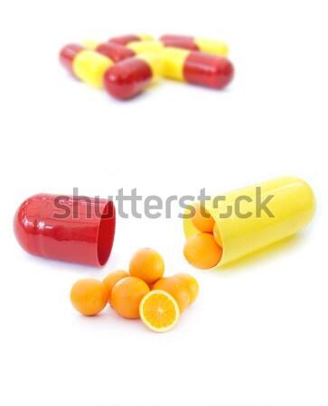 C vitamini minyatür portakal içinde kapsül Stok fotoğraf © unikpix