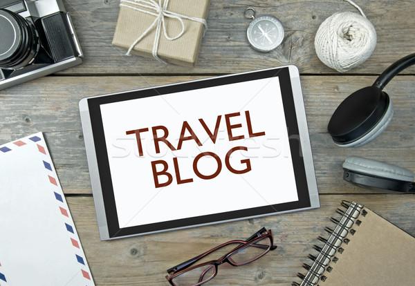 Podróży blog cyfrowe tabletka materiały biurowe obiektów Zdjęcia stock © unikpix