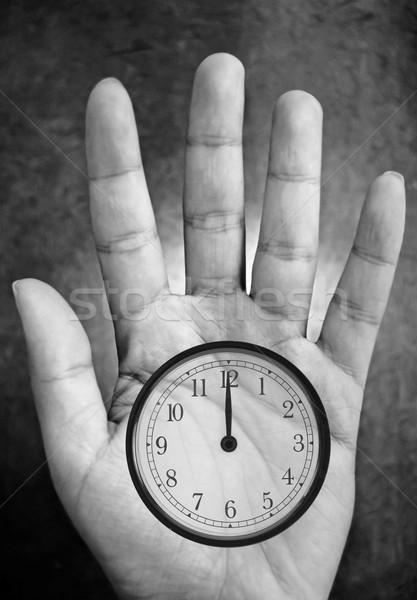 Controle tijd palm hand klok Stockfoto © unikpix