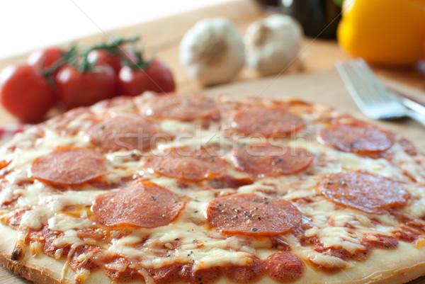 Oven baked pepperoni pizza  Stock photo © unikpix