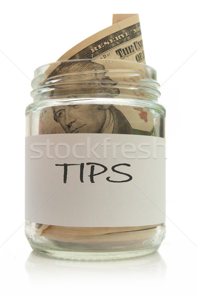 Conseils jar plein dollar note blanche Photo stock © unikpix