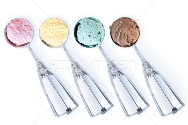 Crème glacée quatre alimentaire été glace fraise Photo stock © unikpix