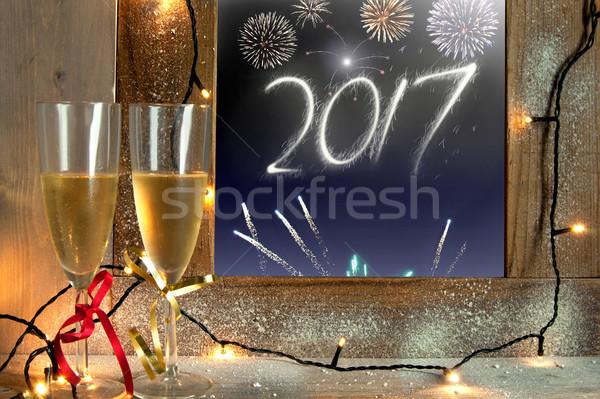 Сток-фото: Новый · год · шампанского · очки · окна · новых · лет