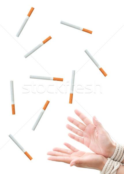 Dohányzás kezek ki zuhan cigaretta füst Stock fotó © unikpix