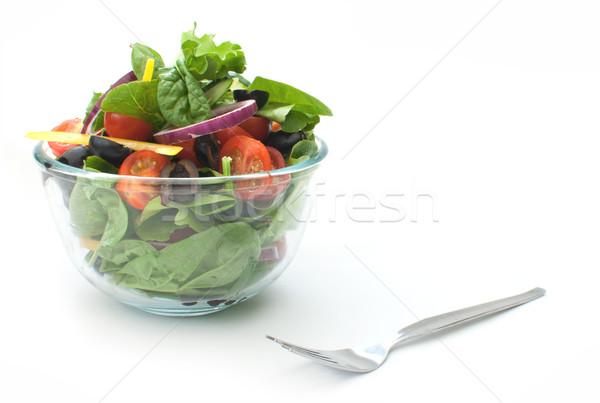 Insalatiera fresche insalata vetro ciotola bianco Foto d'archivio © unikpix