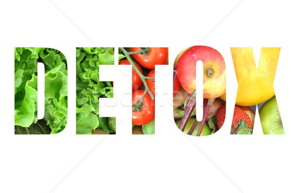 Detoxikáló szöveg gyümölcsök zöldségek gyümölcs zöldség Stock fotó © unikpix