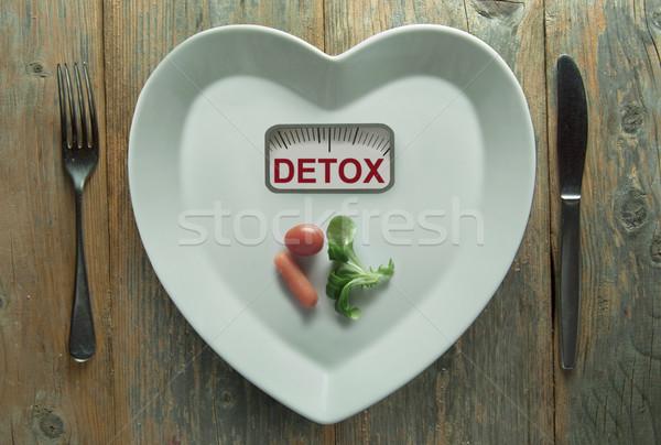Detoxikáló szív alak tányér mérleg kicsi adag Stock fotó © unikpix