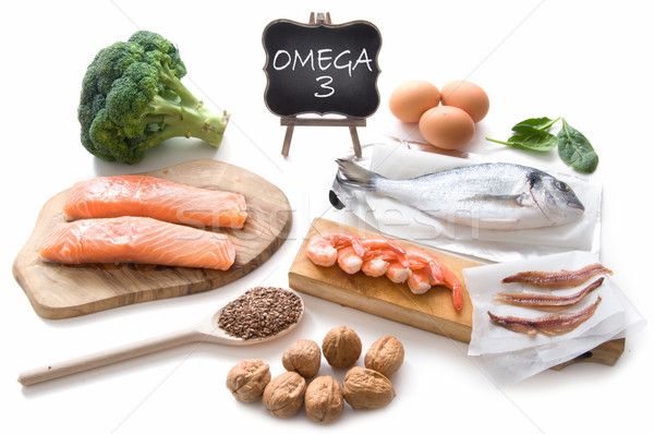 Omega 3 gazdag ételek gyűjtemény magas zsíros Stock fotó © unikpix