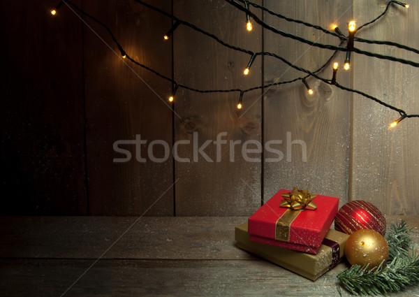 Christmas prezenty dekoracyjny światła przestrzeni Zdjęcia stock © unikpix