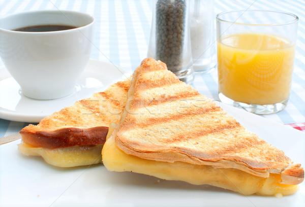 гриль сыра сэндвич поджаренный кофе оранжевый Сток-фото © unikpix
