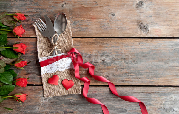 Valentines day meal setting Stock photo © unikpix