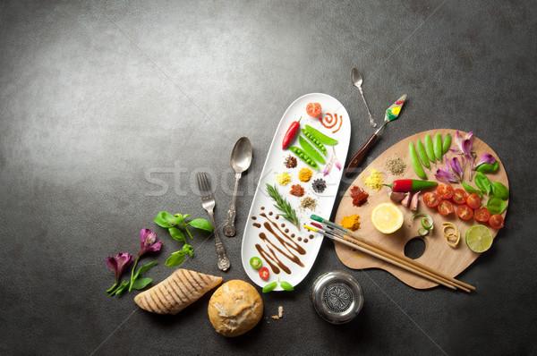 Alimentare palette colorato erbe spezie Foto d'archivio © unikpix