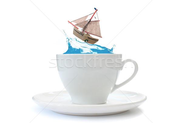 Storm чайная чашка парусного лодка волна внутри Сток-фото © unikpix