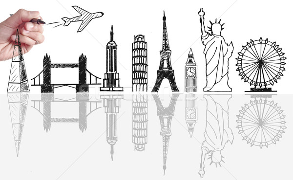 Global travel tourist landmarks skyline sketch  Stock photo © unikpix