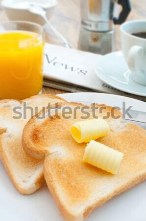 завтрак тоста кофе таблице масло чашку кофе Сток-фото © unikpix