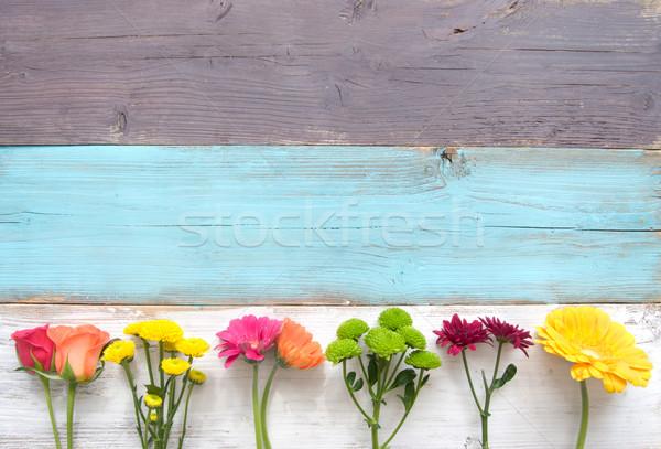 Tavaszi virág vegyes választék virágok fából készült húsvét Stock fotó © unikpix