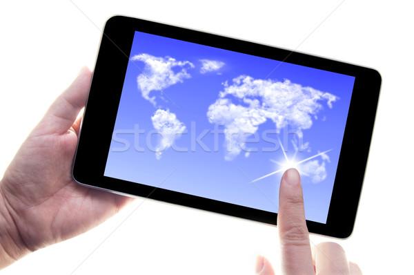 цифровой таблетка бизнеса связи пальца Сток-фото © unikpix