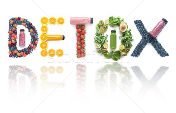 Dzsúz detoxikáló különböző csoportok gyümölcsök zöldségek Stock fotó © unikpix