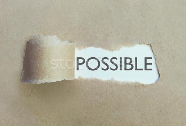 Lehetséges szakadt barna papír szó üzlet ötlet Stock fotó © unikpix