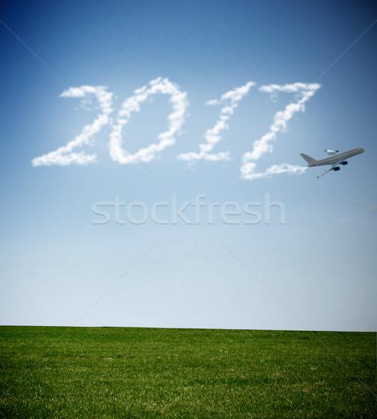 Tekst wolk parcours vliegen vliegtuig rook Stockfoto © unikpix
