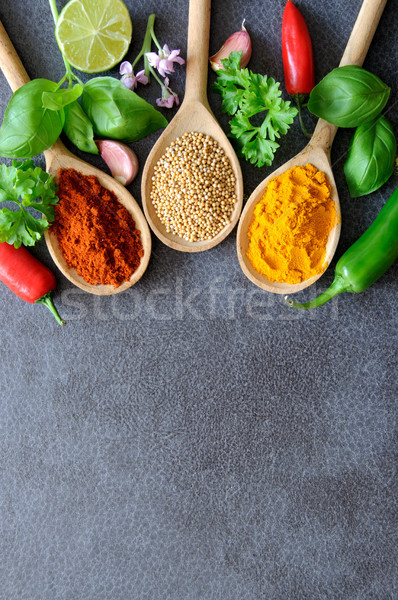 Fresh herbs and seasoning border  Stock photo © unikpix