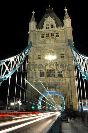 Tower Bridge trafik gece ışıklar mimari tarih Stok fotoğraf © unikpix