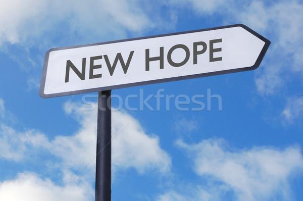 Nuovo speranza segno segnale stradale cielo blu religione Foto d'archivio © unikpix
