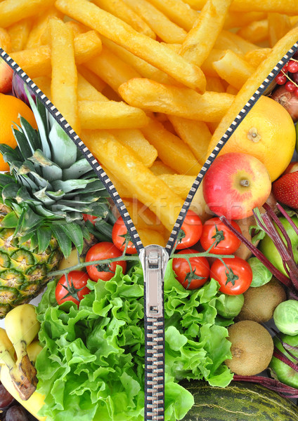 Healthy and unhealthy food zipper concept Stock photo © unikpix