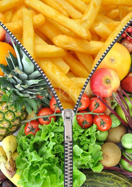 Sağlıklı sağlıksız gıda fermuar açılış patates kızartması içinde Stok fotoğraf © unikpix