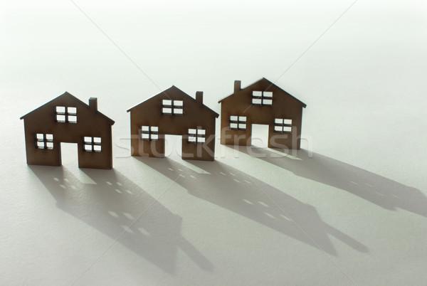Nieruchomości domu rząd trzy mały domów Zdjęcia stock © unikpix