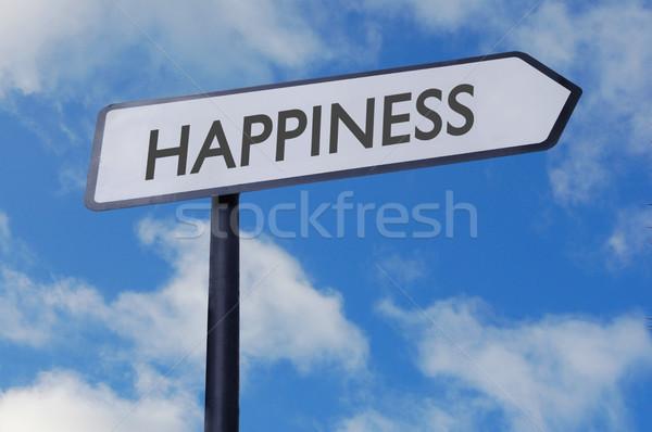 счастье знак улице подписать Blue Sky счастливым успех Сток-фото © unikpix