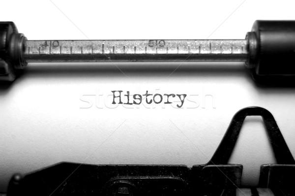 Historii słowo starych maszyny do pisania czarno białe Zdjęcia stock © unikpix