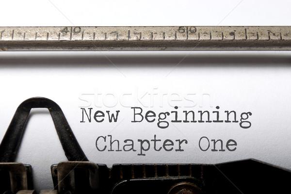 új kezdet fejezet egy nyomtatott írógép Stock fotó © unikpix