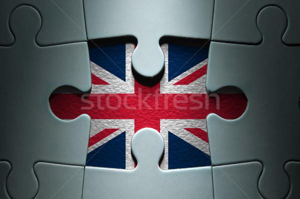 Foto stock: Rompecabezas · bandera · que · falta · pieza · rompecabezas · mercado