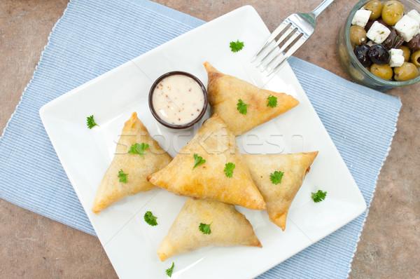 Driehoek voedsel Grieks maaltijd Stockfoto © unikpix