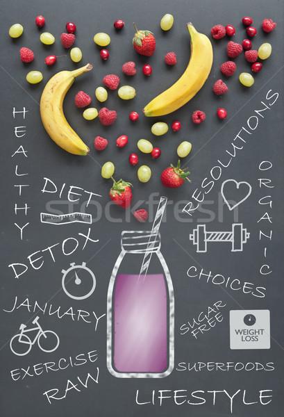 Egészséges étrend életstílus friss gyümölcs bogyók málna rajz Stock fotó © unikpix