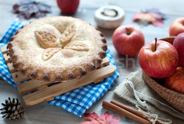 Hálaadás almás pite gyümölcs hozzávalók őszi levelek fa asztal Stock fotó © unikpix