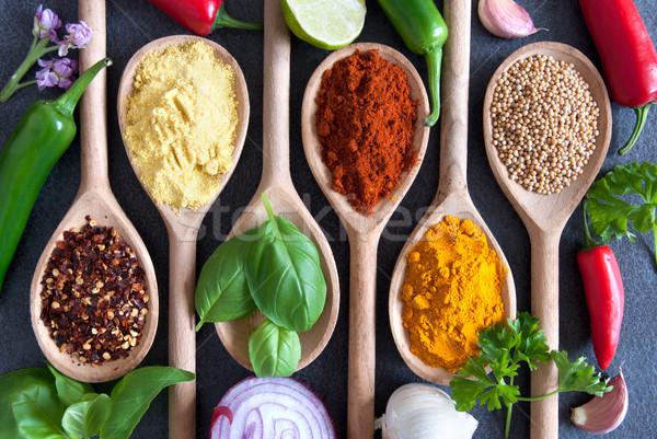 Recept öntet hozzávalók friss főzés gyógynövények Stock fotó © unikpix