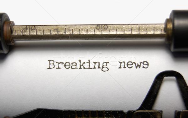 Rendkívüli hírek közelkép szavak öreg írógép papír Stock fotó © unikpix