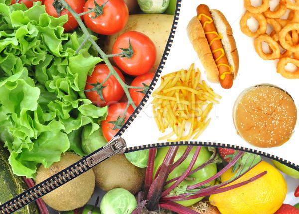 Sağlıklı sağlıksız gıda seçim diyet fermuar meyve Stok fotoğraf © unikpix