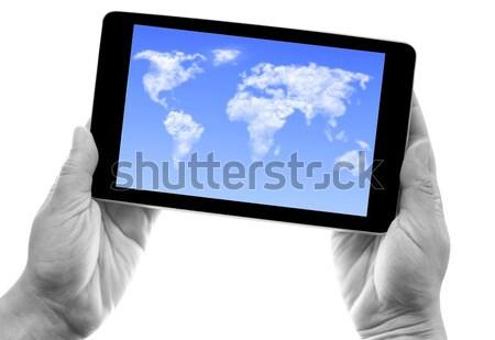 таблетка облаке Мир карта рук компьютер Сток-фото © unikpix