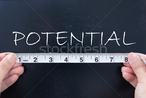Potentieel tape maat woord schoolbord Stockfoto © unikpix