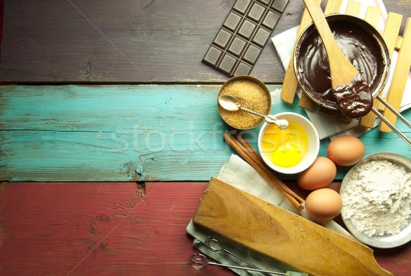 Сток-фото: Ингредиенты · яйца · мучной · горячий · шоколад